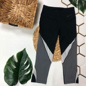 Nike Driffit Mesh Leggings Black Grey and White